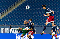 FOXBOROUGH, MA - AUGUST 26: Collin Verfurth #35 of New England Revolution II heads the ball during a game between Greenville Triumph SC and New England Revolution II at Gillette Stadium on August 26, 2020 in Foxborough, Massachusetts.