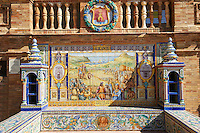 The tiled Alicante Alcove along the walls of the Plaza de Espana in Seville built in 1928 for the Ibero-American Exposition of 1929, Seville Spain