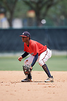 GCL Braves second baseman Luis Ovando (9) during a game against the GCL Pirates on July 27, 2017 at ESPN Wide World of Sports Complex in Kissimmee, Florida.  GCL Braves defeated the GCL Pirates 8-6.  (Mike Janes/Four Seam Images)