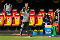 Watford caretaker manager Hayden Mullins during the Premier League match between Watford and Manchester City at Vicarage Road, Watford, England on 21 July 2020. Football Stadiums around remain empty due to the Covid-19 Pandemic as Government social distancing laws prohibit supporters inside venues resulting in all fixtures being played behind closed doors until further notice.<br /> Photo by Andy Rowland.