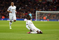 Pictured: Nathan Dyer is celebrating his goal. Sunday 24 February 2013<br /> Re: Capital One Cup football final, Swansea v Bradford at the Wembley Stadium in London.