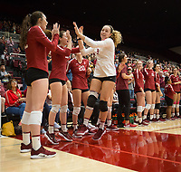 STANFORD, CA - NOVEMBER 17: Stanford, CA - November 17, 2019: Morgan Hentz, Caitie Baird at Maples Pavilion. #4 Stanford Cardinal defeated UCLA in straight sets in a match honoring neurodiversity. during a game between UCLA and Stanford Volleyball W at Maples Pavilion on November 17, 2019 in Stanford, California.