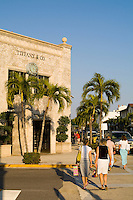 Expensive Real Estate and shopping on the Famous Rich Worth Avenue in Palm Beach Florida with palm trees and wealth at Tiffany and Compan