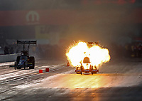 Sep 5, 2020; Clermont, Indiana, United States; NHRA top fuel driver Doug Kalitta explodes an engine on fire during qualifying for the US Nationals at Lucas Oil Raceway. Mandatory Credit: Mark J. Rebilas-USA TODAY Sports