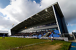 Jack Byrne of Oldham takes a corner in front of The North Stand at Boundary Park. Oldham v Portsmouth League 1