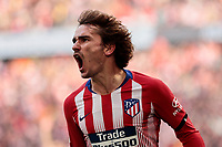 Atletico de Madrid's Antoine Griezmann celebrates goal during La Liga match between Atletico de Madrid and Real Madrid at Wanda Metropolitano Stadium in Madrid, Spain. February 09, 2019. (ALTERPHOTOS/A. Perez Meca)<br /> Liga Campionato Spagna 2018/2019<br /> Foto Alterphotos / Insidefoto <br /> ITALY ONLY