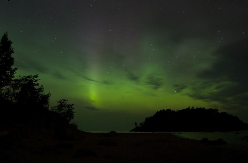 The aurora borealis seen over Lake Superior in Michigan's Upper Peninsula.