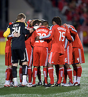 22 April 2009: Toronto FC players huddle before the start of the second half at BMO Field in a MLS game between Chivas USA and Toronto FC. Toronto FC won 1-0. .
