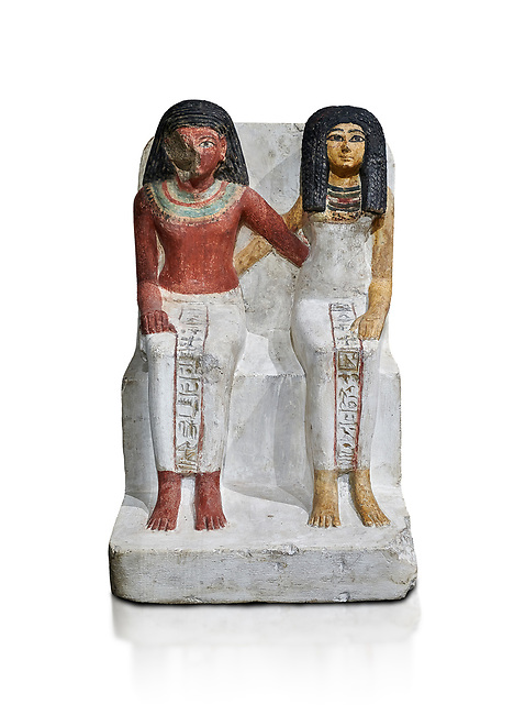 Ancient Egyptian statue of Amenmes and his wife Taka, New Kingdom, 18th Dynasty, (1480-1390 BC), Thebes Necropolis. Egyptian Museum, Turin. Grey background. Drovetti collection. Cat 3059