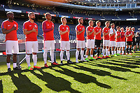 San Diego, CA - Sunday January 29, 2017: USMNT bench prior to an international friendly between the men's national teams of the United States (USA) and Serbia (SRB) at Qualcomm Stadium.