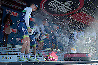 For a 2nd year running Team Orica-GreenEDGE has taken the opening TTT of the 2015 Giro and thus can celebrate with a champaign shower on the podium<br /> <br /> stage 1: San Lorenzo Al Mare - San remo (TTT/17.6km)