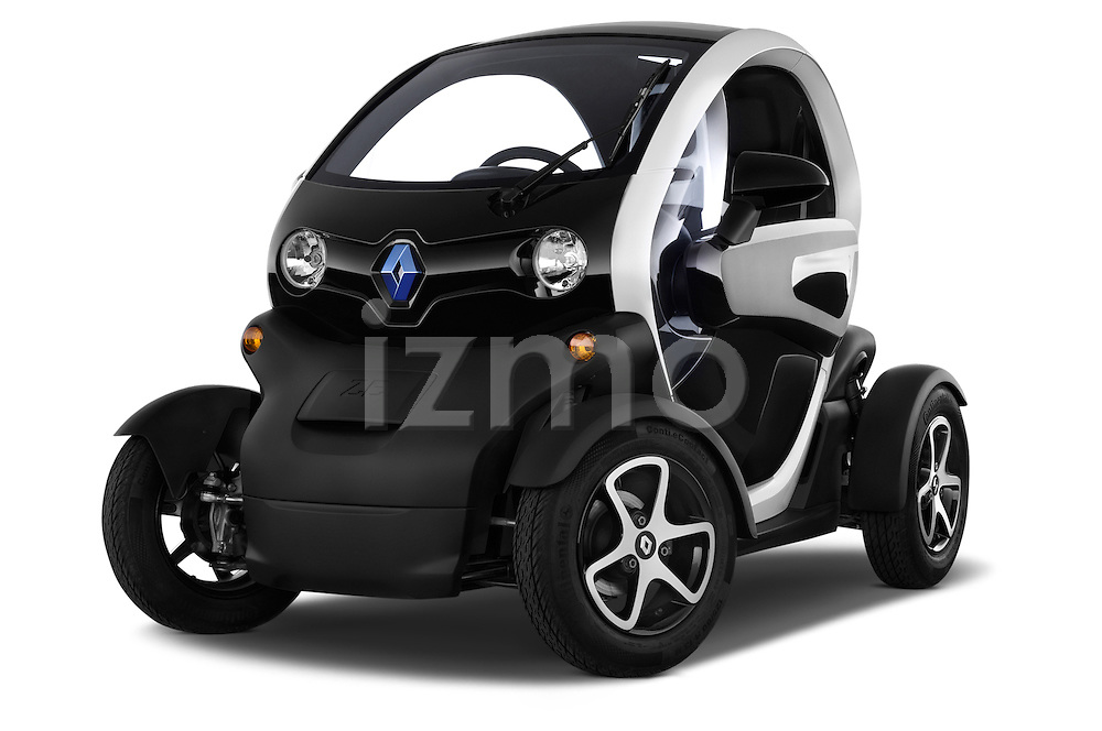 Low aggressive front three quarter view of a 2012 - 2014 Renault Twizy Technic 80 Micro Car.
