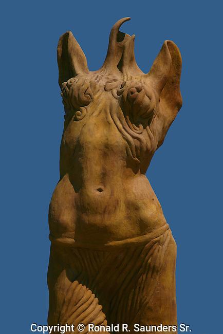 MODERN STREET ART: BRONZE ABSTRACT SCULPTURE of FEMALE TORSO