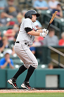 Indianapolis Indians second baseman Blake Davis (10) broken bat base hit during a game against the Rochester Red Wings on July 26, 2014 at Frontier Field in Rochester, New  York.  Rochester defeated Indianapolis 1-0.  (Mike Janes/Four Seam Images)