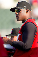 Kenny Gilbert #26 of the Kannapolis Intimidators charts the hitters during the South Atlantic League game against the Hickory Crawdads at Fieldcrest Cannon Stadium on April 17, 2011 in Kannapolis, North Carolina.   Photo by Brian Westerholt / Four Seam Images