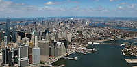 aerial photograph Lower Manhattan, East River, Brooklyn Bridge, New York City