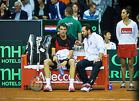 September 12, 2014, Netherlands, Amsterdam, Ziggo Dome, Davis Cup Netherlands-Croatia, Croatian bench<br /> Photo: Tennisimages/Henk Koster