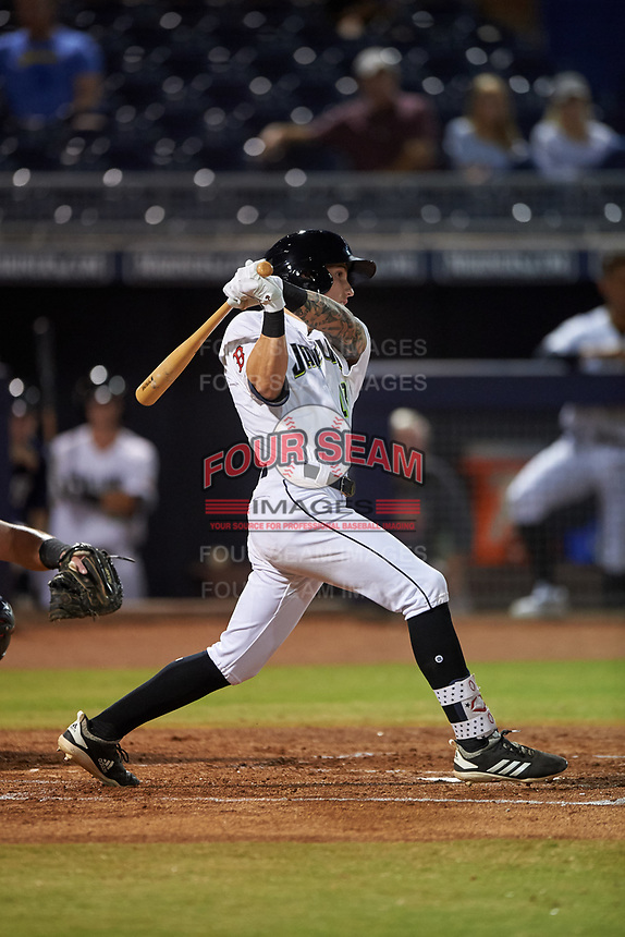 Peoria Javelinas Jarren Duran (18), of the Boston Red Sox organization, hits a single to center field during an Arizona Fall League game against the Surprise Saguaros on September 22, 2019 at Peoria Sports Complex in Peoria, Arizona. Surprise defeated Peoria 2-1. (Zachary Lucy/Four Seam Images)