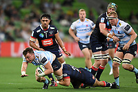 19th March 2021; Melbourne Rectangular Stadium, Melbourne, Victoria, Australia; Australian Super Rugby, Melbourne Rebels versus New South Wales Waratahs; Jack Dempsey of the Waratahs breaks free of Tom Nowlan of the Rebels