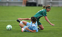 Yael Averbuch of Sky Blue and Angie Woznuk of St Louis get tangled at midfield.  St. Louis Athletica defeated Sky Blue FC 2-1 at Yurcak Field at Rutgers University in Piscataway, NJ on June 28, 2009.