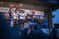 Podium:<br /> <br /> 1st place: Mathieu Van Der Poel (NED/Corendon-Circus)<br /> 2nd place: Wout Van Aert (BEL/Crelan Charles)<br /> 3th place: Corné Van Kessel (NED/Telenet Fidea Lions)<br /> <br /> <br /> <br /> elite men's race<br /> GP Sven Nys 2018
