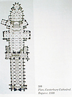 Plan of Canterbury Cathedral in Canterbury, Kent. It is one of the oldest and most famous Christian structures in England. It forms part of a World Heritage Site. It is the cathedral of the Archbishop of Canterbury,