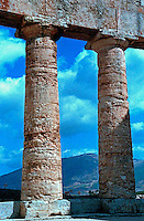 Detail of Greek temple ruin in the Valley of the Temples, Agrigento, Sicily, Italy