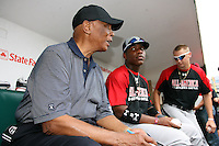 August 7, 2009:  Hall of Fame member Ernie Banks talks with Under Armour All-America team member Chavez Clarke at Wrigley Field in Chicago, IL.  Photo By Mike Janes/Four Seam Images