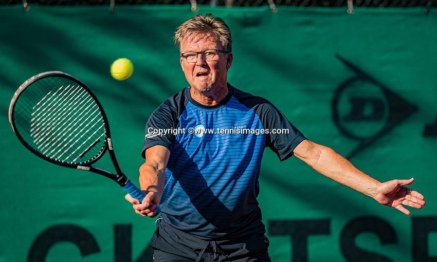 Hilversum, The Netherlands,  August 21, 2020,  Tulip Tennis Center, NKS, National Senior Tennis Championships, Men's single 55+,  Bart Theelen <br /> Gejo Bogie<br /> Photo: Tennisimages/Henk Koster