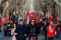 General view<br /> Rome February 9th 2019. Demonstration of the three Italian trade unions, CGIL, CISL, UIL.<br /> Foto Samantha Zucchi Insidefoto
