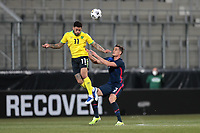 WIENER NEUSTADT, AUSTRIA - MARCH 25: Andre Gray #11 of Jamaica goes up for a header with Aaron Long #3 of the United States during a game between Jamaica and USMNT at Stadion Wiener Neustadt on March 25, 2021 in Wiener Neustadt, Austria.
