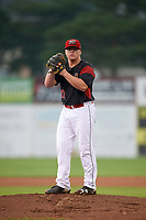 Batavia Muckdogs starting pitcher Taylor Braley (10) gets ready to deliver a warmup pitch during a game against the West Virginia Black Bears on August 7, 2017 at Dwyer Stadium in Batavia, New York.  West Virginia defeated Batavia 6-3.  (Mike Janes/Four Seam Images)