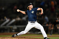 Pitcher Max Kuhns (16) of the Columbia Fireflies works in relief in a game against the Lexington Legends on Thursday, June 8, 2017, at Spirit Communications Park in Columbia, South Carolina. Columbia won, 8-0. (Tom Priddy/Four Seam Images)
