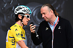 Race leader Geraint Thomas (WAL) Team Sky Yellow Jersey being interviewed at sign on before the start of Stage 7 of the 2018 Criterium du Dauphine 2018 running 136km from Moutiers to Saint Gervais Mont Blanc, France. 10th June 2018.<br /> Picture: ASO/Alex Broadway | Cyclefile<br /> <br /> <br /> All photos usage must carry mandatory copyright credit (© Cyclefile | ASO/Alex Broadway)