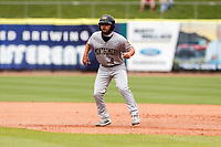 Montgomery Biscuits left fielder Cal Stevenson (4) gets his lead off first base against the Tennessee Smokies on May 9, 2021, at Smokies Stadium in Kodak, Tennessee. (Danny Parker/Four Seam Images)