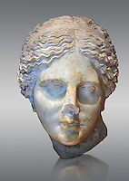 "Roman marble head of Aphrodite (Venus)  known as the ""Kaufmann head"" once conserved in Berlin. Circa 150 BC found in Asia Minor.  Inv MND 2027 ( or Ma 3518) Louvre Museum, Paris."