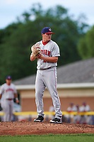 Auburn Doubledays starting pitcher Matthew DeRosier (21) gets ready to deliver a pitch during a game against the Batavia Muckdogs on June 19, 2017 at Dwyer Stadium in Batavia, New York.  Batavia defeated Auburn 8-2 in both teams opening game of the season.  (Mike Janes/Four Seam Images)