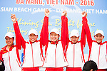 China Team celebrates after winning the Gold Prize of the Rowing Women's competition on Day Eight of the 5th Asian Beach Games 2016 at Bien Dong Park on 01 October 2016, in Danang, Vietnam. Photo by Marcio Machado / Power Sport Images