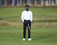 3rd October 2021; The Old Course, St Andrews Links, Fife, Scotland; European Tour, Alfred Dunhill Links Championship, Fourth round; Lead singer with the Vamps, Brad Simpson on the third green during the final round of the Alfred Dunhill Links Championship on the Old Course, St Andrews