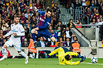 Lionel Andres Messi of FC Barcelona jumps to avoid goalkeeper Keylor Navas of Real Madrid during the La Liga 2017-18 match between FC Barcelona and Real Madrid at Camp Nou on May 06 2018 in Barcelona, Spain. Photo by Vicens Gimenez / Power Sport Images