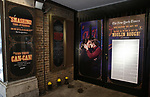"""Theatre Marquee with Karen Olivo and Aaron Tveit  for """"Moulin Rouge!"""" The Broadway Musical at the Al Hirschfeld Theatre on July 9, 2019 in New York City."""
