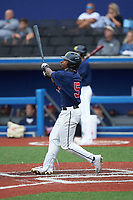 Khalil Watson (5) of Wake Forest High School (NC) playing for the Atlanta Braves scout team during game two of the South Atlantic Border Battle at Truist Point on September 26, 2020 in High Pont, NC. (Brian Westerholt/Four Seam Images)