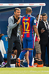 Coach Luis Enrique Martinez of FC Barcelona talks to Rafinha during their La Liga match between Deportivo Leganes and FC Barcelona at the Butarque Municipal Stadium on 17 September 2016 in Madrid, Spain. Photo by Diego Gonzalez Souto / Power Sport Images
