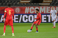 Lois Openda (7) of Belgium starting the game between the national teams Under21 Youth teams of Belgium and Denmark on the fourth matday in group I for the qualification for the Under 21 EURO 2023 , on tuesday 12 th of october 2021  in Leuven , Belgium . PHOTO SPORTPIX   STIJN AUDOOREN
