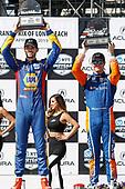Alexander Rossi, Andretti Autosport Honda, Scott Dixon, Chip Ganassi Racing Honda, podium