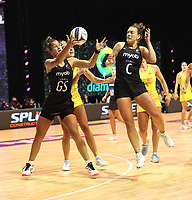 Maia Wilson and Claire Kersten of Silver Ferns in action during the Constellation Cup international netball series match between New Zealand Silver Ferns and Australian Diamonds at Christchurch Arena in Christchurch, New Zealand on Tuesday, 2 March 2021. Photo: Martin Hunter / lintottphoto.co.nz