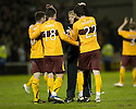 :: MOTHERWELL MANAGER STUART MCCALL CONGRATULATES HIS PLAYERS AT THE END OF THE GAME ::.30/03/2011   sct_jsp021_motherwell_v_dundee_utd     .Copyright  Pic : James Stewart.James Stewart Photography 19 Carronlea Drive, Falkirk. FK2 8DN      Vat Reg No. 607 6932 25.Telephone      : +44 (0)1324 570291 .Mobile              : +44 (0)7721 416997.E-mail  :  jim@jspa.co.uk.If you require further information then contact Jim Stewart on any of the numbers above.........