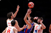 Spain's Pau Gasol (L) and Sergio Llull (R) vies with France's Nando De Colo (C) during European championship semi-final basketball match between France and Spain on September 17, 2015 in Lille, France  (credit image & photo: Pedja Milosavljevic / STARSPORT)