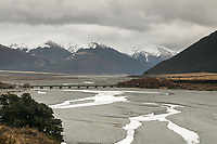 Waimakariri River with railway bridge near Arthur's Pass, Canterbury, New Zealand