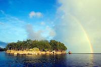 A rain storm approaches a small island in Palau, Micronesia.<br />